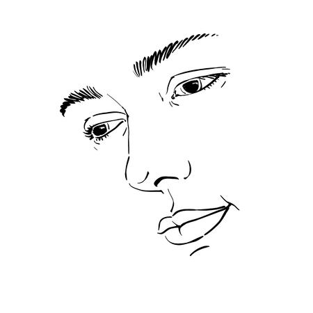 sorrowful: Hand-drawn portrait of white-skin sorrowful woman, sad face emotions theme illustration. Illustration