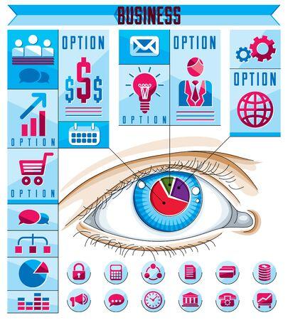 human eye: Creative infographics concept, human eye, looking eye idea, vector illustration.