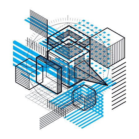 Isometric abstract background with lines and other different elements, vector abstract template. Illustration