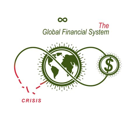 finacial: The Crisis in Global Financial System conceptual logo, unique vector symbol. Banking system.