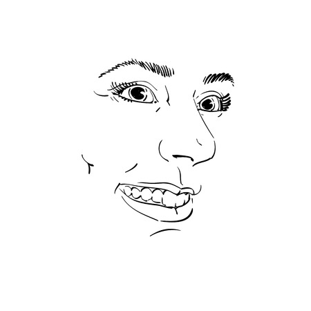 Hand-drawn vector illustration of beautiful smiling woman. Monochrome image, expressions on face of sincere young lady.