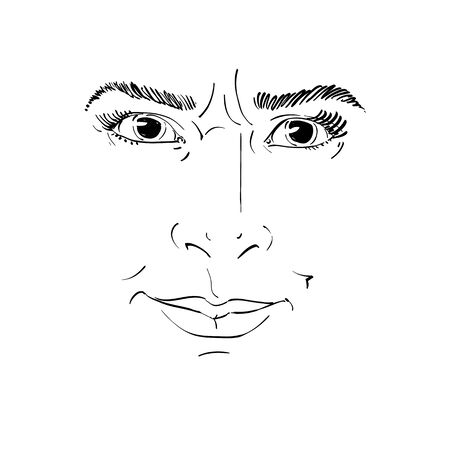 Hand-drawn vector illustration of irate woman. Monochrome image, negative expressions on face of young lady, angry woman rebukes somebody.