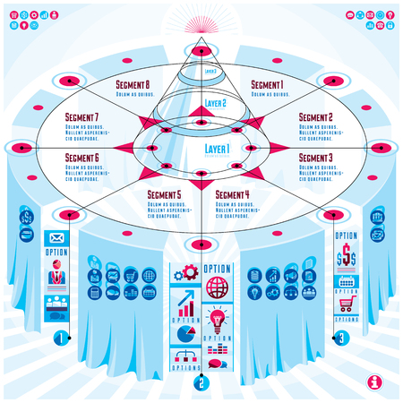 Creative infographics elements concept, 3d table with layered pyramid idea, vector layout illustration.