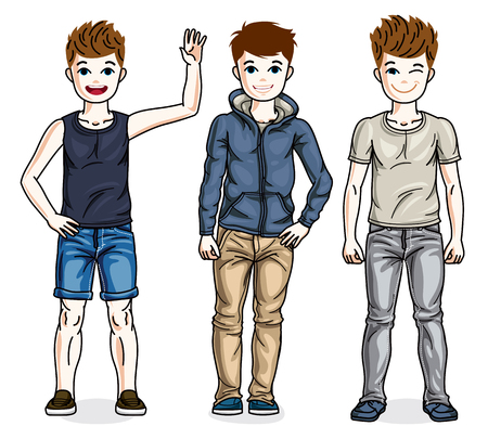 Happy young teenager boys posing wearing fashionable casual clothes. Vector set of beautiful kids illustrations. Childhood and family lifestyle cartoons.