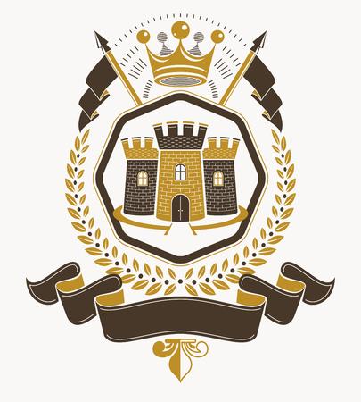 citadel: Heraldic coat of arms decorative emblem. Illustration