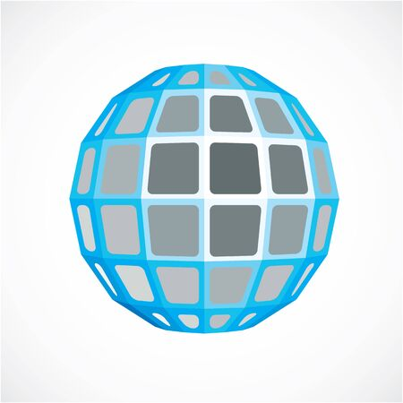Blue faceted orb created from squares, dimensional vector sphere. Low poly geometric design element for use in engineering and technology.