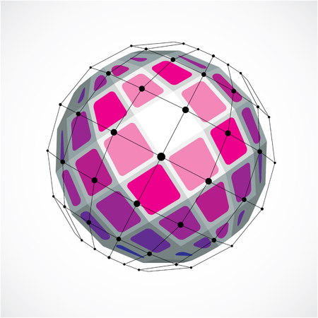 Perspective technology shape with black lines and dots connected, polygonal wireframe object. Abstract purple faceted element for use as design structure on communication technology theme Illustration