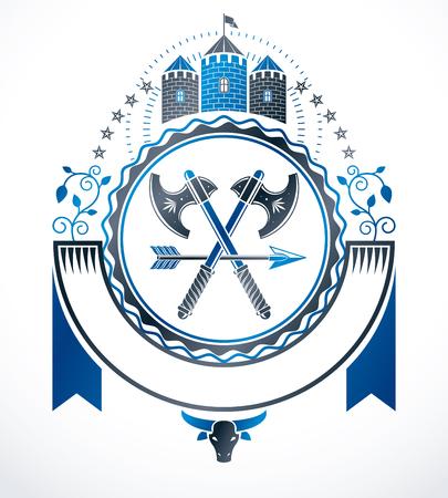 citadel: Vintage heraldry design template, vector emblem.