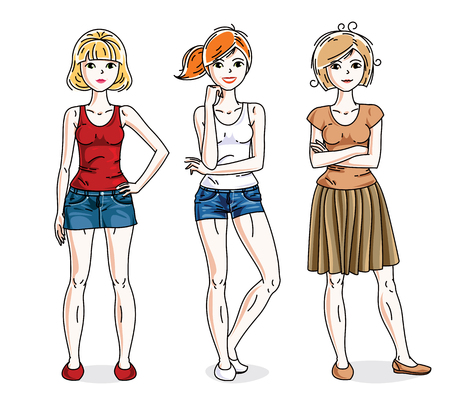 Young beautiful women group standing wearing casual clothes. Vector characters set. Illustration