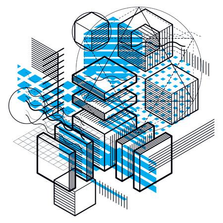 perspectiva lineal: Diseño abstracto con formas y figuras de malla lineal 3d, vector de fondo isométrico. Cubos, hexágonos, cuadrados, rectángulos y diferentes elementos abstractos.