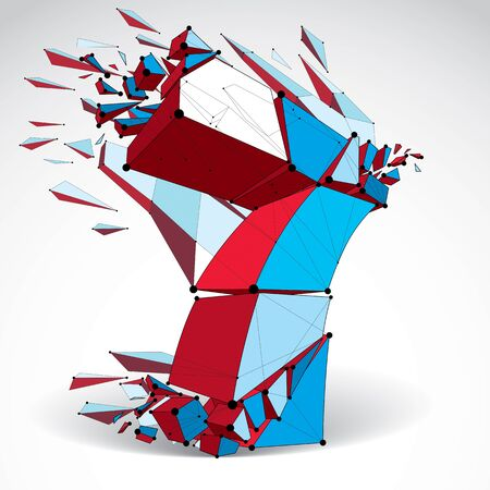 3d vector low poly colorful number 7 with black connected lines and dots, geometric wireframe font with fragments. Perspective shattered digit with thread. Illustration