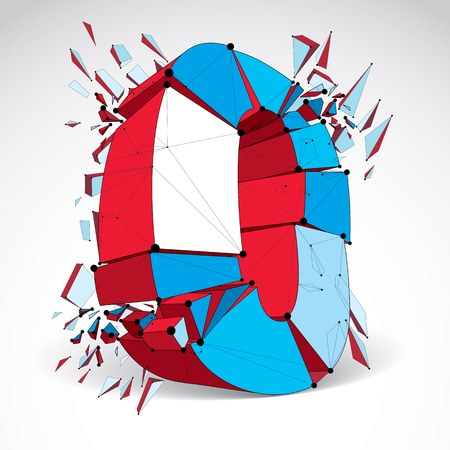 Abstract 3d faceted zero number with connected black lines and dots. Vector low poly shattered design element with fragments and particles. Explosion effect. Illustration