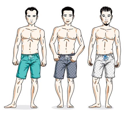 Handsome men standing wearing beach shorts. Vector people illustrations set. Illustration