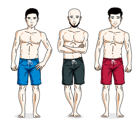 Handsome men standing with perfect body, wearing beach shorts. Vector people illustrations set.