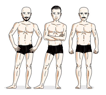 Confident handsome men group standing in black underwear. Vector diversity people illustrations set. Illustration