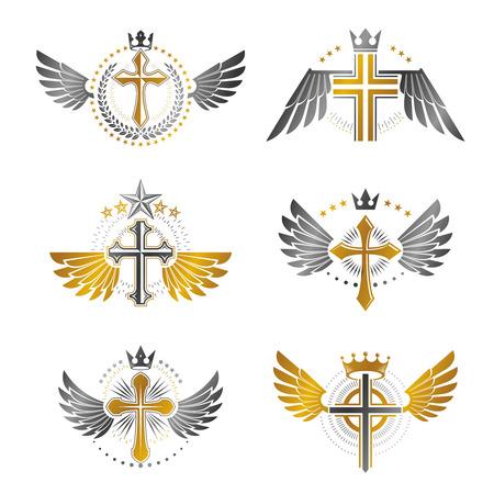 Crosses emblèmes religieux fixés. Manteau héraldique des armes, collection vintage de logos vectoriels. Logo