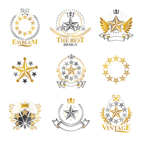 rating: Stars emblems set. Heraldic Coat of Arms decorative logos isolated vector illustrations collection.