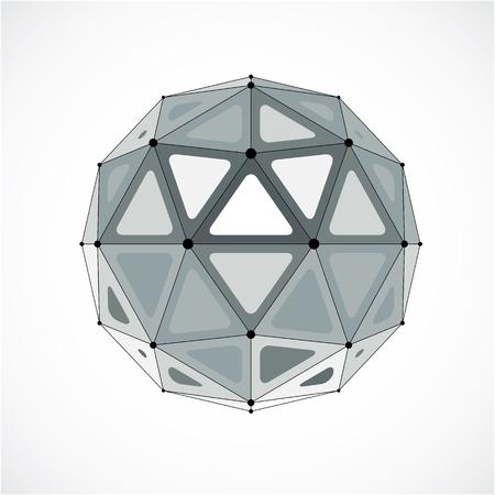 Objet sphérique de vecteur 3D low poly avec lignes connectées noires et points, forme géométrique monochrome wireframe. Orbe en perspective créé avec des facettes triangulaires. Vecteurs