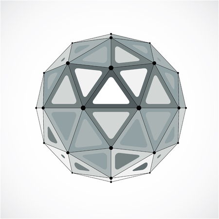 3d vector low poly spherical object with black connected lines and dots, geometric monochrome wireframe shape. Perspective orb created with triangular facets. Illustration
