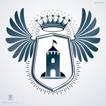 armory: Vector heraldic sign made with decorative elements, vintage majestic emblem.