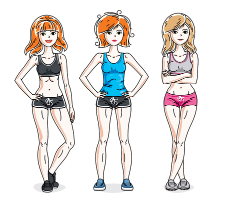 Attractive young women posing wearing stylish sport clothes, sportswoman and fitness people. Vector characters set. Lifestyle theme fem characters. Illustration