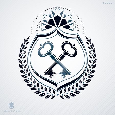 armory: Luxury heraldic vector template. Vintage blazon. Illustration