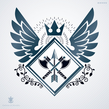 Vector retro insignia design decorated with wings and made using vintage elements like royal crown and axes crossed Illustration