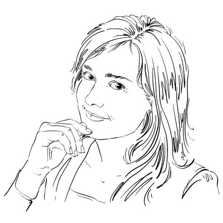 Hand-drawn vector illustration of beautiful romantic loving woman. Monochrome image.