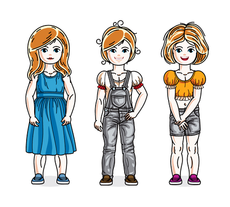 tot: Cute little girls standing wearing fashionable casual clothes. Vector kids illustrations set.