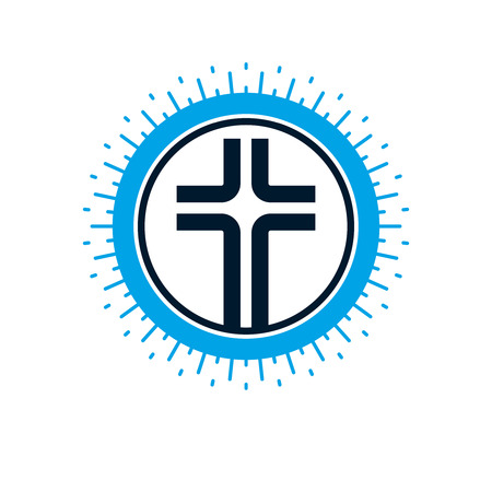 Christian Cross vector symbol, Christianity God religion icon.