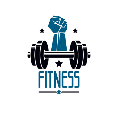 Gym and fitness logo template, retro style vector emblem. With barbell and strong hand fist.