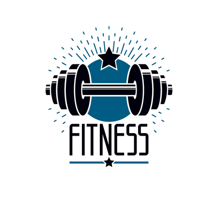 Gym and fitness logo template, retro style vector emblem. With barbell. Illustration