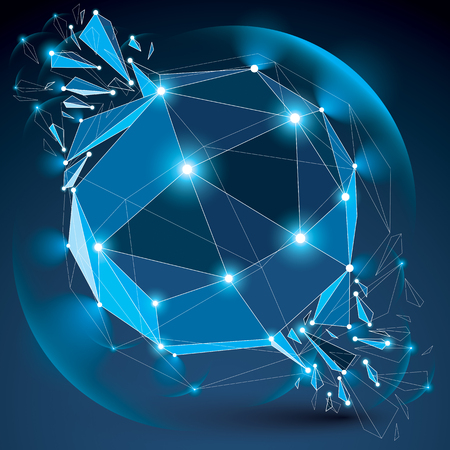3d vector low poly blue spherical object with sparkles, white connected lines and dots, geometric wireframe shape with refractions. Radiance perspective colorful shattered form.