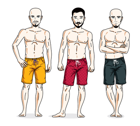 Handsome men posing with athletic body, wearing beach shorts. Vector characters set.
