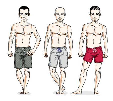 Handsome men posing in colorful beach shorts. Vector characters set.