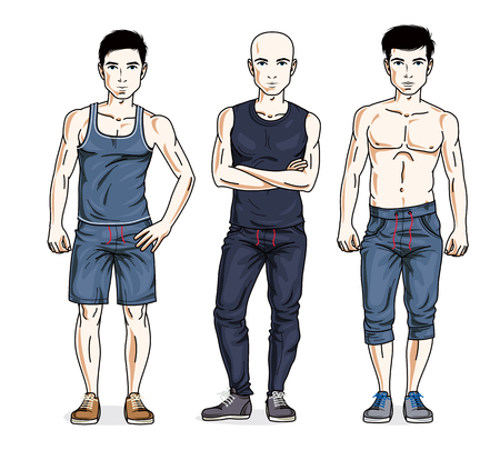 perfect face: Handsome young men standing in stylish sportswear, sportsman and fitness people. Vector set of beautiful people illustrations. Lifestyle theme male characters.