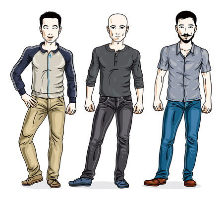 Handsome men group standing wearing fashionable casual clothes. Vector set of beautiful people illustrations. Lifestyle theme male characters.