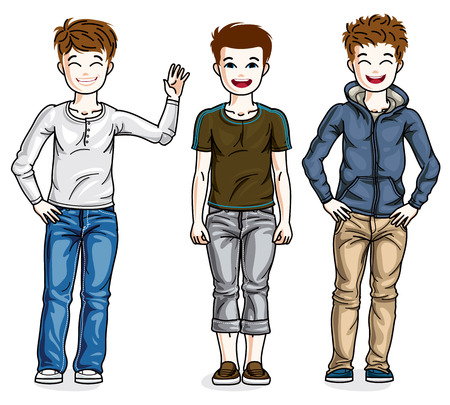 Little boys cute children standing wearing different casual clothes. Vector kids illustrations set. Childhood and family lifestyle clip art. Illustration