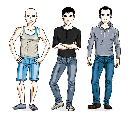 Handsome men group standing wearing fashionable casual clothes. Vector set of beautiful people illustrations.