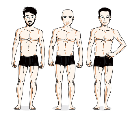 Confident handsome men group standing in black underwear. Vector diversity people illustrations set. Athletic man with perfect body.