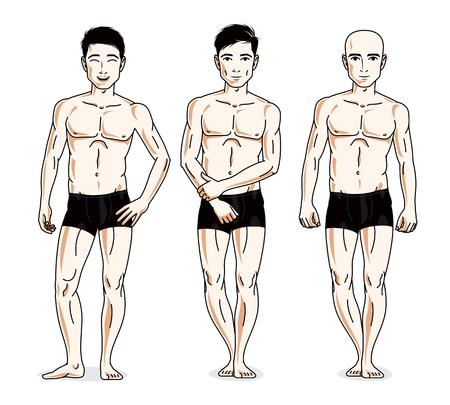 skivvy: Confident handsome men group standing in black underwear. Vector diversity people illustrations set. Illustration