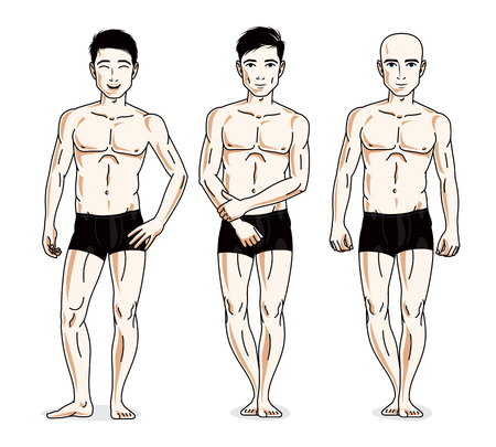 Confident handsome men group standing in black underwear. Vector diversity people illustrations set. Illustration