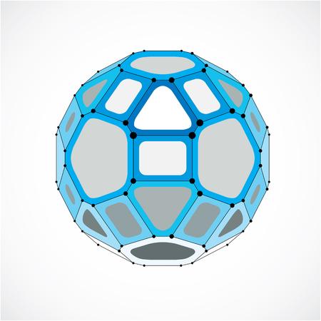Vector de alambre tridimensional objeto poli baja, forma faceta azul esférico con la red negro. Tecnología elemento de malla 3D hecho usando pentágonos para su uso como forma de diseño en ingeniería.