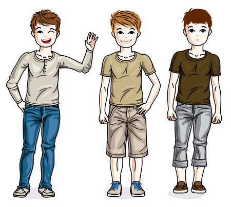 school age: Child young teen boys group standing wearing fashionable casual clothes. Vector diversity kids illustrations set. Childhood and family lifestyle clip art. Illustration
