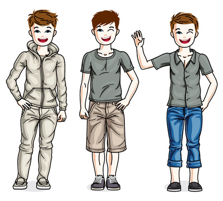 Child young teen boys group standing wearing different casual clothes. Vector diversity kids illustrations set. Illustration