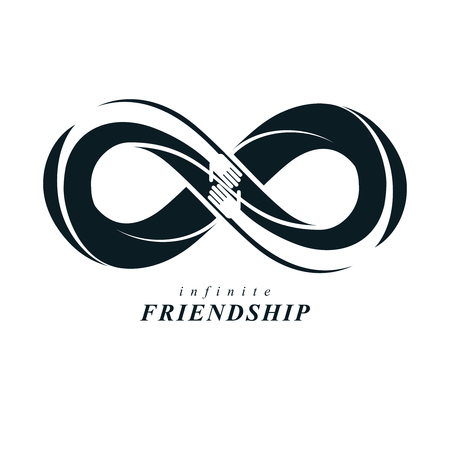 Friends Forever, everlasting friendship, beautiful vector logo combined with two symbols of eternity loop and human hands. Illustration