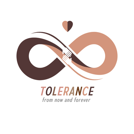 Racial Tolerance conceptual symbol, Martin Luther King Day, Zero tolerance, vector symbol created with infinity loop sign and two hands of people of different races touching and reaching each other. Illustration