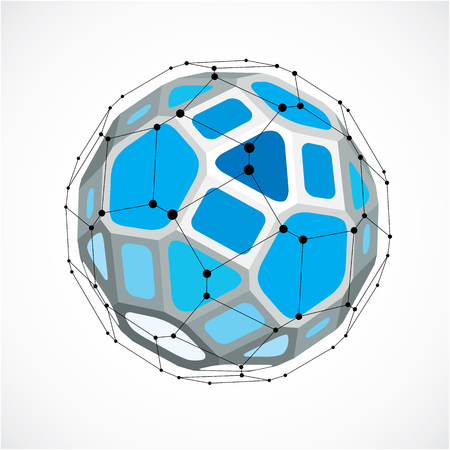 黒、3 d ベクトルの低ポリ球状の物体は、ラインやドット、幾何学的な青いワイヤー フレーム図形を接続しました。視点ファセット ボール正方形と  イラスト・ベクター素材