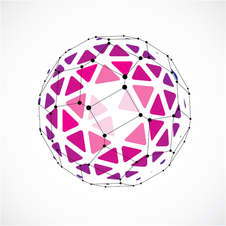 globe grid: 3d vector digital wireframe spherical object made using triangular facets. Geometric polygonal structure created with lines mesh. Low poly shape, purple lattice form for use in web design.