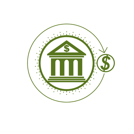 courthouse: Banking conceptual logo, unique vector symbol. Banking system. The Global Financial System. Circulation of Money.